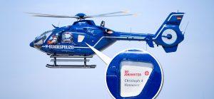 Bild: Blauer Rettungshubschrauber