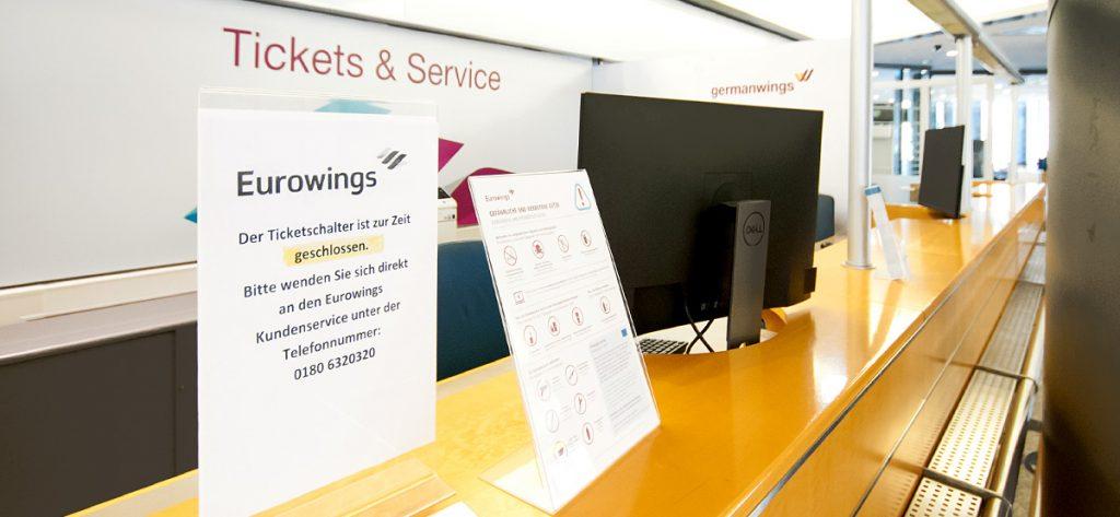 Bild: Geschlossener Eurowings-Schalter