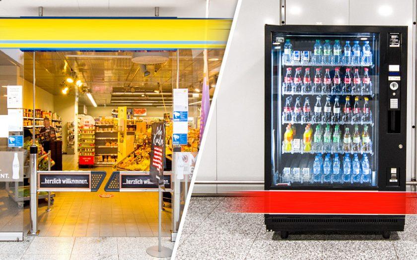 Bild: Supermarkt und Automat am Flughafen