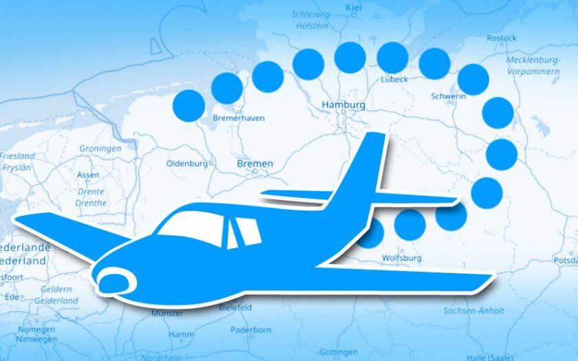 Grafik: Landkarte mit Flugzeug-Symbol