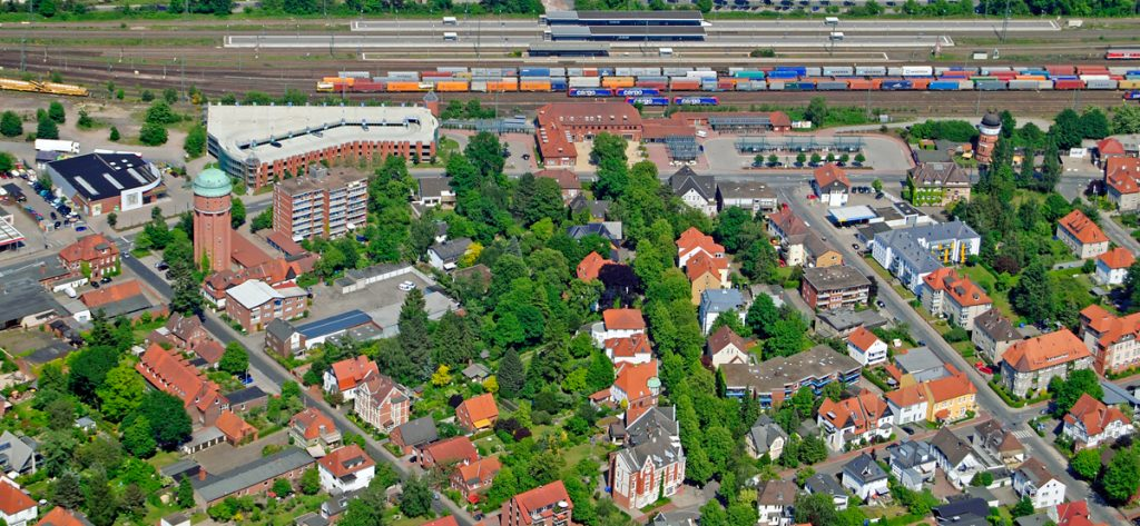 Bild: Luftbild Nienburg Bahnhofsgegend