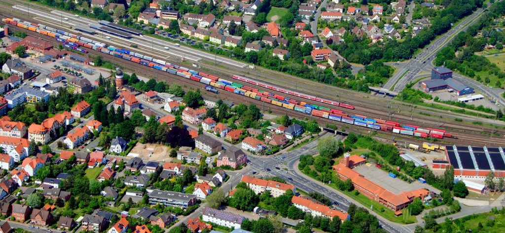 Bild: Luftbild Bahnhof Nienburg