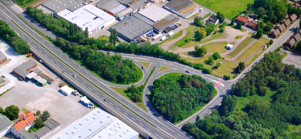 Bild: Luftbild Nienburg B6-Abfahrt Nord
