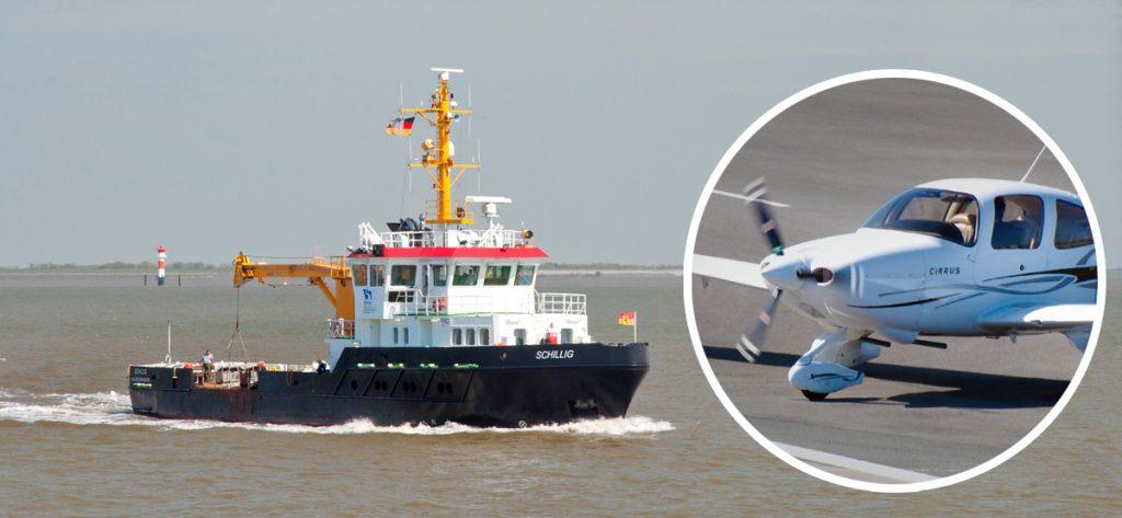 Bild: Suchboot Schillig und verschollenes Flugzeug